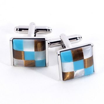 Rhodium-Plated Square Stone Cuff Links