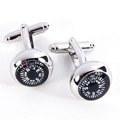 Rhodium-Plated Compass Cuff Links