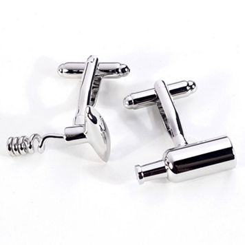 Rhodium-Plated Bottle & Corkscrew Cuff Links