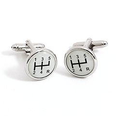 Rhodium-Plated Car Shifter Cuff Links