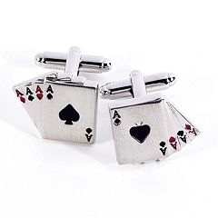 Rhodium-Plated Aces Cuff Links