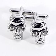 Rhodium-Plated Crystal Skull Cuff Links