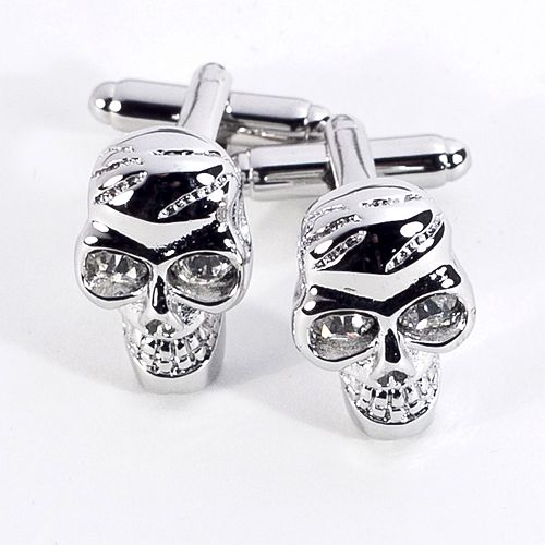 Rhodium-Plated Crystal Skull Cuff Links