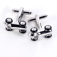 Rhodium-Plated Race Car Cuff Links