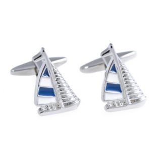 Rhodium-Plated Sailboat Cuff Links