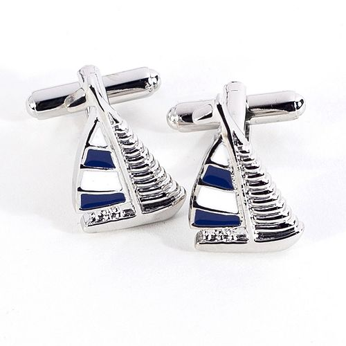 Rhodium-Plated Sailboat Cuff Links