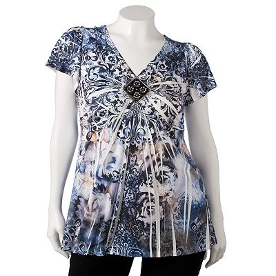 Apt. 9 Scroll Embellished Sublimation Top - Women's Plus