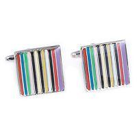 Rhodium-Plated Striped Cuff Links