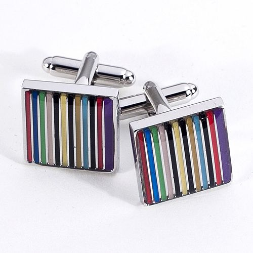 Rhodium-Plated Striped Cuff Links