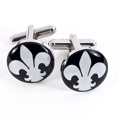 Rhodium-Plated Fleur-de-Lis Cuff Links