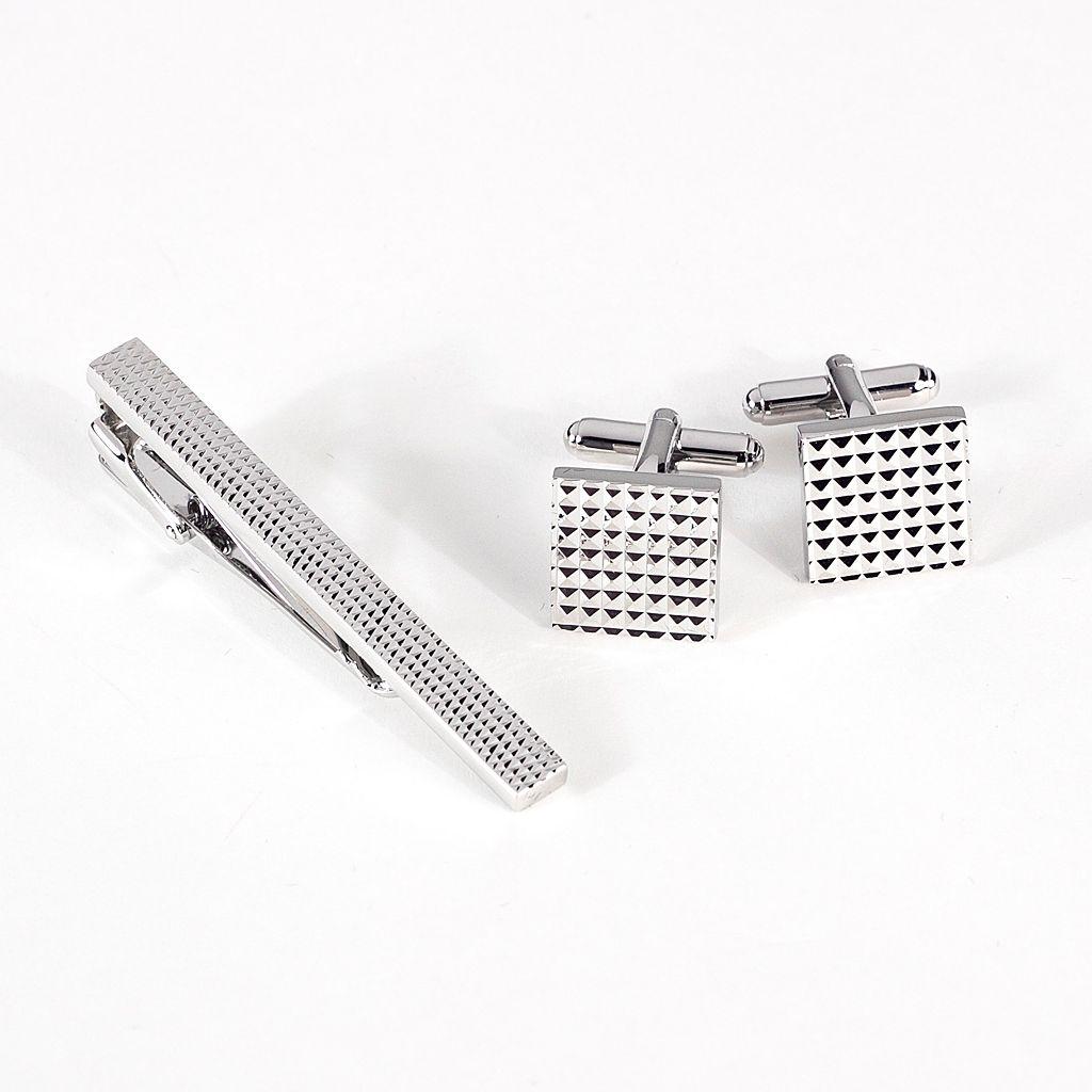 Rhodium-Plated Checkered Cuff Links & Tie Bar Set