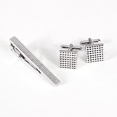 Rhodium-Plated Checkered Cuff Links & Tie Bar Set