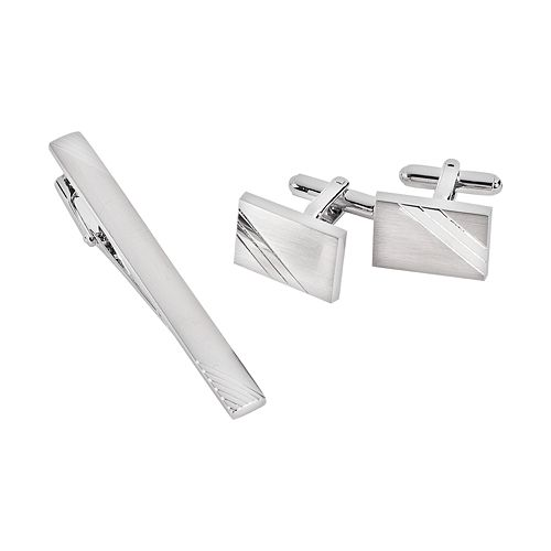 Rhodium-Plated Stripe Cuff Links & Tie Bar Set