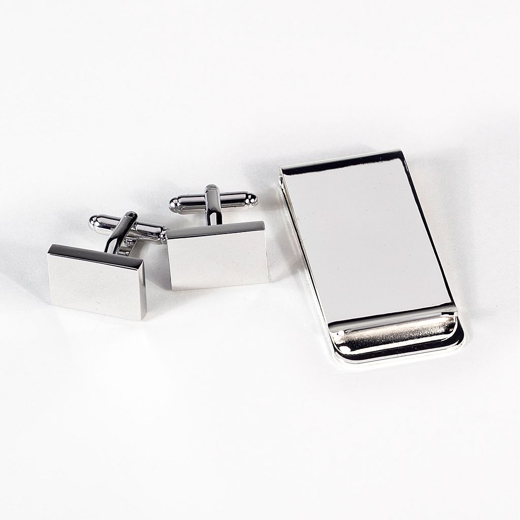 Rhodium-Plated Rectangle Cuff Links & Money Clip Set