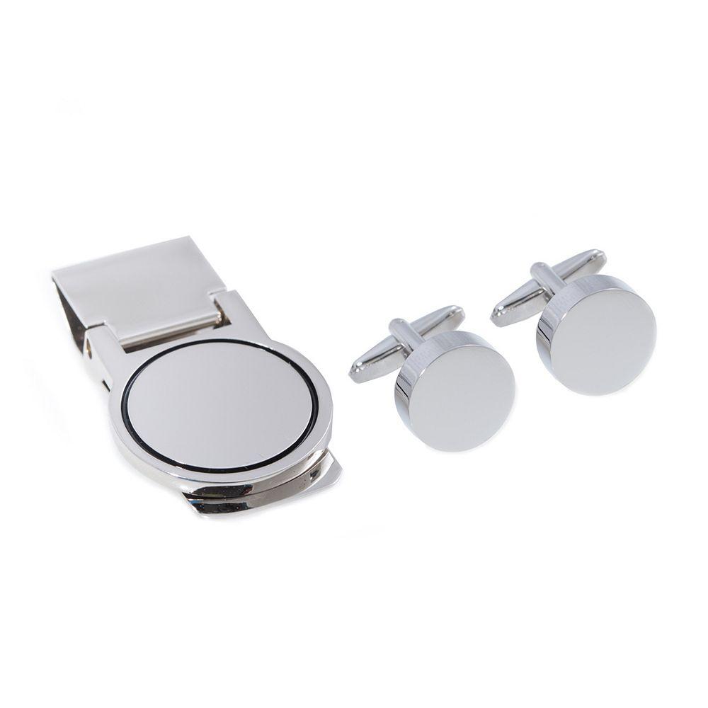 Rhodium-Plated Round Cuff Links & Money Clip Set