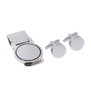Rhodium-Plated Round Cuff Links and Money Clip Set