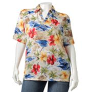Cathy Daniels Floral Embellished Polo - Women's Plus