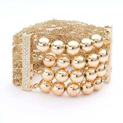 Apt. 9 Bead and Simulated Crystal Multistrand Stretch Bracelet