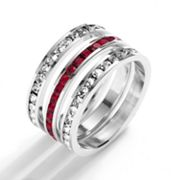 Traditions Sterling Silver Red and White Swarovski Crystal Eternity Ring Set