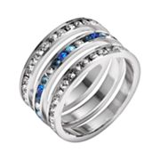 Traditions Sterling Silver Blue and White Swarovski Crystal Eternity Ring Set