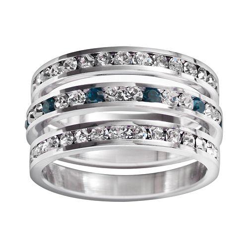 Traditions Sterling Silver Swarovski Crystal Eternity Ring Set