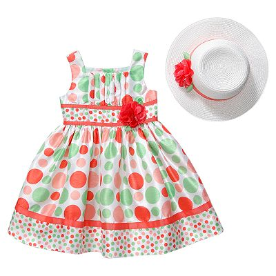 Youngland Polka-Dot Shantung Dress and Hat Set - Girls 4-6x