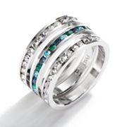 Traditions Sterling Silver Green, Blue and White Swarovski Crystal Eternity Ring Set