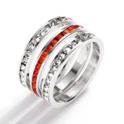 Traditions Sterling Silver Orange and White Swarovski Crystal Eternity Ring Set