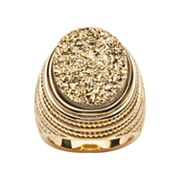 18k Gold Over Silver Drusy and Milgrain Ring