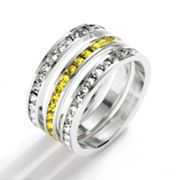 Traditions Sterling Silver Yellow and White Swarovski Crystal Eternity Ring Set