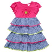 Youngland Checked Tiered Seersucker Dress - Girls 4-6x