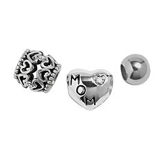 Individuality Beads Sterling Silver Crystal 'Mom,' Heart Openwork & Spacer Bead Set