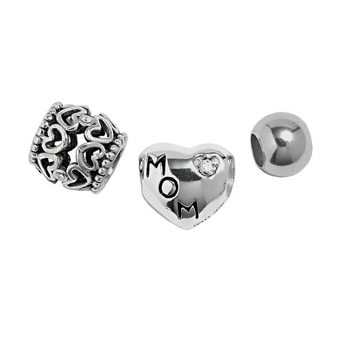 """Individuality Beads Sterling Silver Crystal """"Mom,"""" Heart Openwork & Spacer Bead Set"""