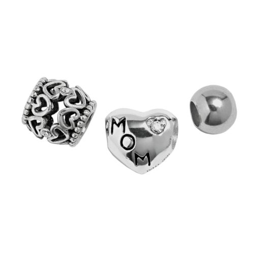 Individuality Beads Sterling Silver Crystal Mom, Heart Openwork and Spacer Bead Set