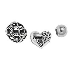 Individuality Beads Sterling Silver 'Family' Heart, Basket Weave & Spacer Bead Set