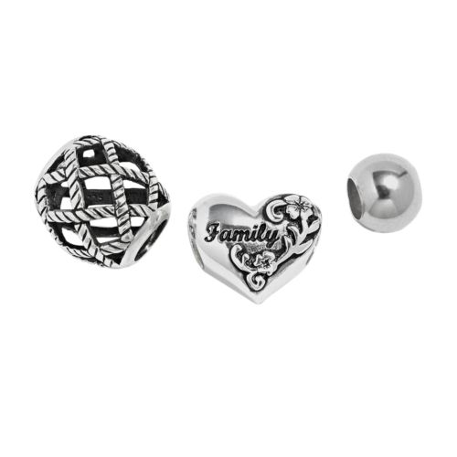 Individuality Beads Sterling Silver Family Heart, Basket Weave and Spacer Bead Set