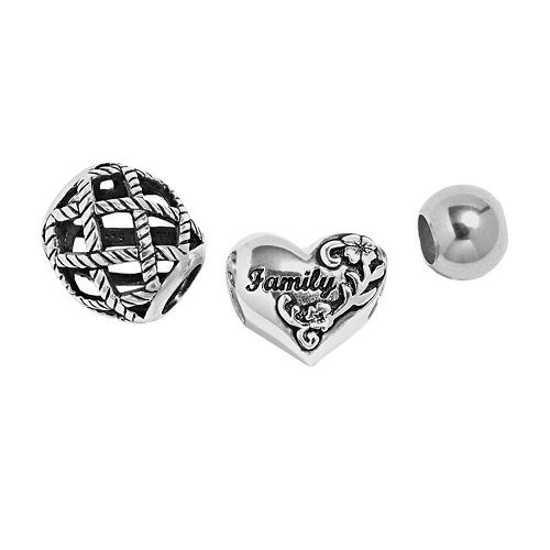 """Individuality Beads Sterling Silver """"Family"""" Heart, Basket Weave & Spacer Bead Set"""