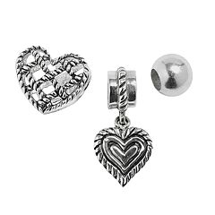 Individuality Beads Sterling Silver Crystal Heart Charm & Bead Set