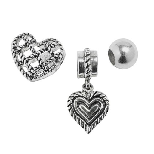 Individuality Beads Sterling Silver Crystal Heart Charm and Bead Set