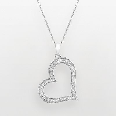 14k White Gold 1/2-ct. T.W. Diamond Heart Pendant
