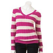 SONOMA life + style Striped Cable-Knit Sweater