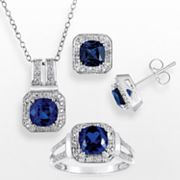 Sterling Silver Lab Created Sapphire and Diamond Accent Pendant, Ring and Stud Earring Set