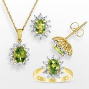 Gold Tone Simulated Peridot and Lab Created White Sapphire Sunburst Pendant, Ring and Stud Earring Set