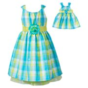 Dollie and Me Plaid Sundress - Girls 4-6x