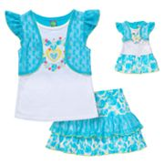 Dollie and Me Mock-Layer Top and Tiered Scooter Set - Girls 4-6x