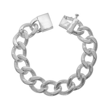 LYNX Silver Plated Textured Curb Bracelet