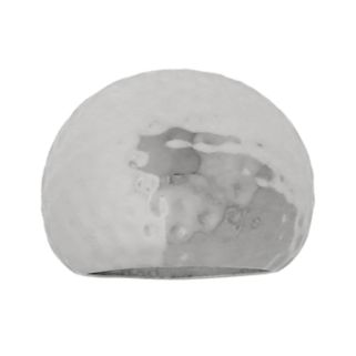 Silver Plated Hammered Dome Ring