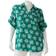 Cathy Daniels Floral Button-Tab Polo - Women's Plus