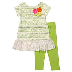 Youngland Lace Dress and Leggings Set - 4-6x