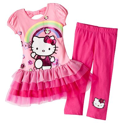 Hello Kitty Floral Rainbow Tutu Tunic and Leggings Set - Girls 4-7